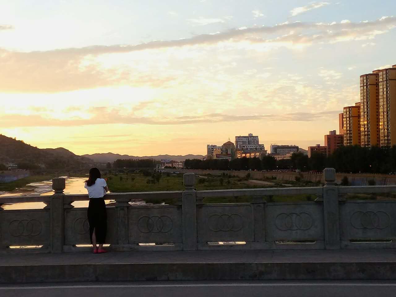 桥上看风景的女孩
